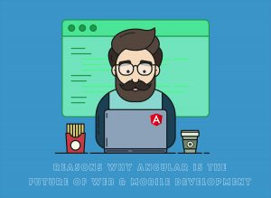 Developer working on the laptop and coding with Angular JS Framework