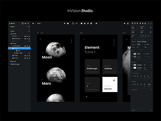 Invision Studio - dashboard